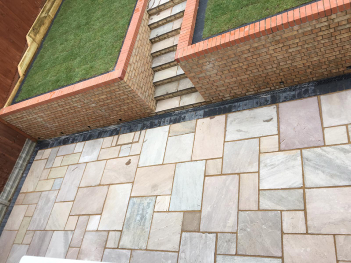 indian sandstone patio Nottingham with steps